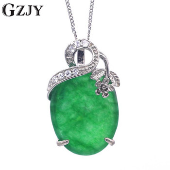 GZJY Goods Natural Green Stone Pendant Necklace Fashion Women Jewelry Gifts For Birthday Party