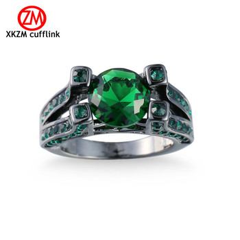 XKZM Female green Oval Ring Fashion Black Gold Filled Jewelry Vintage Wedding Rings For Women Birthday Stone Gifts