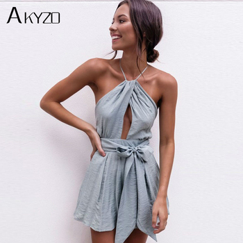 AKYZO Women 2017 Sexy Solid Bow Hollow Out Jumpsuit Backless Spaghetti Strap High Waist Lace-Up Off Shoulder Rompers Playsuit