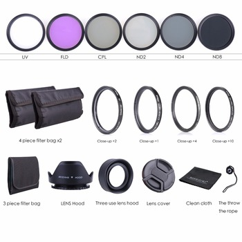 49MM-Lens-Filter-Kit-UV-CPL-FLD-ND-2-4-8-Macro-Close-Up-Lens-Set-for-Nikon & Kauçuk Lens Davlumbazlar/Nikon için Temizleme Bezi seti