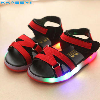 KKABBYII New Summer Led Boy Brand Beach Sandals Children Fashion Baby Girl Light Flat Toddler Casual Shoes