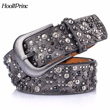 Woman Leather Belt Geometric Rivet Pin Buckle Rhinestone Belts For Women European Fashion Top Quality Leather Strap For Jeans