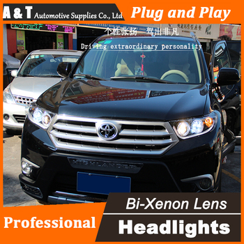 Araba tasarım 2012-Toyota Highlander LED Far angel eyes Far meclisi led drl ile H7 hid kiti 2 adet. -